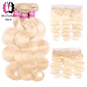 Mstoxic Blonde Body Wave Bundles With Frontal Closure 613 Blonde Brazilian Human Hair Bundles With Frontal Closure Remy Hair