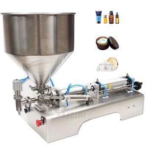 110V 220V Paste Flüssigkeit Zweizzweck-Füllmaschine Edelstahl Halbautomatische horizontale pneumatische Füllmaschine MachineOil Honig Pack Fillin