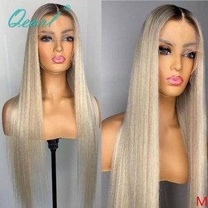 Кружевные парики светло-платиновые блондинки человеческие волосы парик 13x6 омбре фронт 60 # прямой ремин для женщин без глюдельной длинной части 150% Qearl