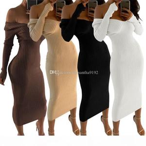 2019 Winter Knitted Sweater Dress Women Off Shoulder Midi Sexy Bodycon Dress Autumn Long Sleeve Party Long Dress Vestidos