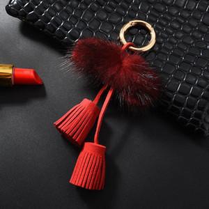 1 stück Nerz Haar Doppel Seilkopf Leder Quaste DIY Schmuck Kleidungsstück Dekoratives Zubehör Schlüsselanhänger Handtasche Pendelles Handwerk Tassel H WMTQZX