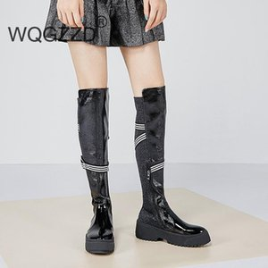 Brand winter shoes women riding boots cow leather metal buckle keep warm long boots thick bottom runway stretch thigh high