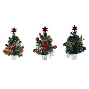 2 Pcs 35cmPVC Potted Tree Christmas Ornaments Decoration Shopping Mall Counter Desktop Small Potted Tree