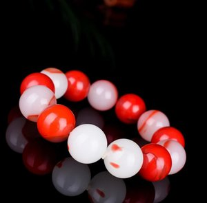 Natural Red White Jade 18mm Beads Bracelet Elastic Bangle Charm Jewellery Fashion Accessories Hand-Carved Woman Luck Amulet Gift