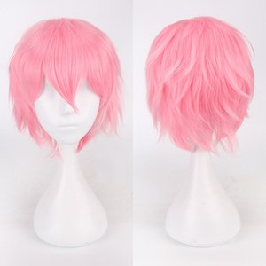 Synthetic wig short straight hair with trimable bangs pink red blue purple cosplay wig for women short wigs