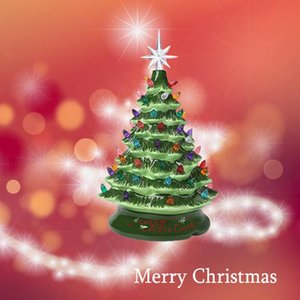 Ceramic Christmas Halloween Tree 13 Inch Prelit Decorations Tabletop Winter Tree Décor with Multicolor Bulbs Star Topper