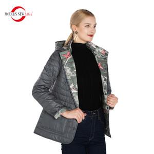 MODERNE NOUVEAU SAGA Automne réversible coton matelassé avec capuche Femmes Manteau chaud Femme Taille russe 201027