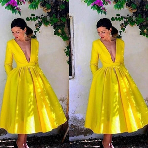 2021 Bright Yellow Prom Dresses Long Sleeves with Pockets Satin Tea Length Sexy Deep V Neck Custom Made Evening Party Gowns Plus Size