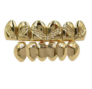 18k Real Gold Braces Punk Hip Hop Teeth Grillz Dental Mouth Fang Grills Up Bottom Tooth Cap Cosplay Party Rapper Jewelry Gifts wmtFAef