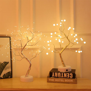 DHL Battery Operated Tree Lamp Decorative LED Lights Tree Night Lights Fairy USB Touch Desk Table Kids Bedroom Warm White Night Bedside Lamp
