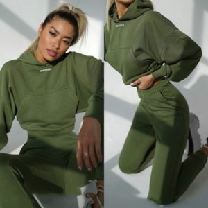 Tracksuits Womens Long Sleeve Casual Outfits Solid Color Sports Two-piece Suit 2020FW Short Pullovers + Pants Fashion Style Sets