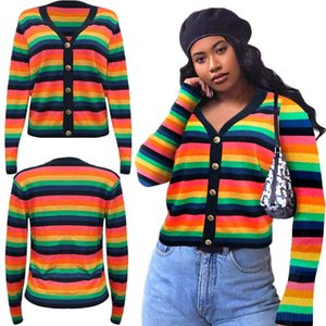 FT-S3884 New arrival Hot sell Autumn winter buttons clothes striped knit women's sweaters IN Stock Fash shipping
