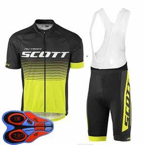 Summer Men Scott Team Cycling Jersey Bib Pants Set Road Bicycle Clothing Quick Dry Short Sleeve Mtb Bike Outfits Sports Uniform Y123002