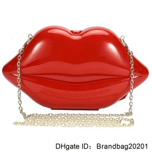 &Girls Lips-shaped Women's Evening Bags Shoulder Clutch Acrylic Wedding Bag Crossbody Purses Handbag (Red) Lady Box Clutches 1