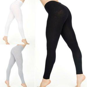Mujeres Algodón blanco Negro Color Sólido Pantalón Pantalones Estástidos Casual Leggings De Yoga Casual