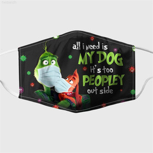 Party Grinch Cosplay Stola Stola natale cotone 3D Face Stampa Maschere Riutilizzabile Lavabile Dust Proof Carino Fashion Adult Face Mask US Set