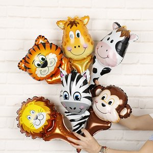 Handheld Animal Head Foil Balloons Tiger Lion Inflatable Air Balloon Jungle Party Decoration Kid Toys Birthday Party Decor