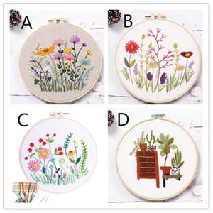 Çiçekler Bitkiler Desen Kumaş Rengi konu Araçları Ana dekorasyonu ile DIY Damgalı Nakış Başlangıç Seti