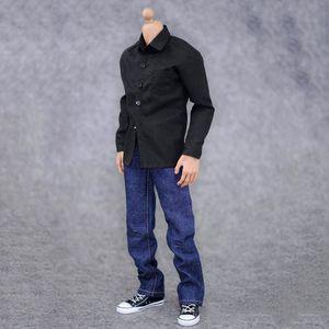 """1/6 Waage Herrenschwarzes Hemdkleidung und Jeansanzug Kleidung Zubehör geeignet für 12 """"Action Figure Body Model Shows"""