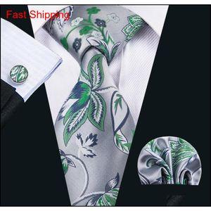 China Gravatas de seda Homens Silva e Green Beautiful Gravatas HandkerChief Cufflinks ajustados para CAS Qyljyt New_Dhbest