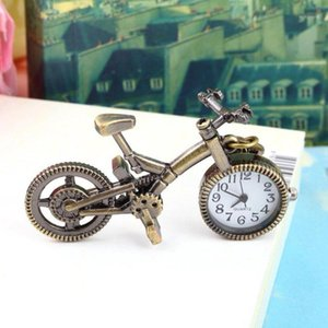 موضة جديدة ساعة للجنسين الرجعية البرونزية سبائك دراجة جيب ساعة المفاتيح النساء الرجال الساعات 1