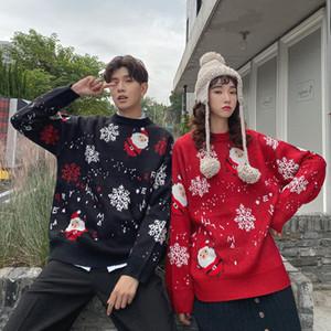 Hot New Natal Mulheres Sweater Tripulação Tamanho Inverno Pullover Chic Oversize Quente Neve Papai Noel casal de mulheres homens cobre Neck Além disso,