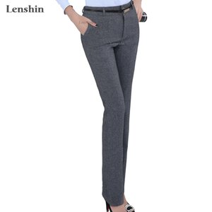 Lenshin Plus Size Pantaloni regolabili formali per le donne Ufficio Lady Style Style Wear Wear Straight Belt Loop Pantaloni Business