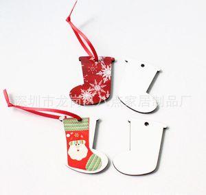 300pcs Christmas Boots Heat transfer printing Christmas pendant sublimation MDF Christmas ornaments pendant
