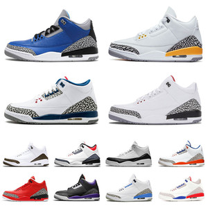 3S Mens Homme Jumpman Chaussons de basketball Cool Grey III Varsity Royal UNC Fire Red White Ciment Femmes Baskets Formateurs Taille 36-47
