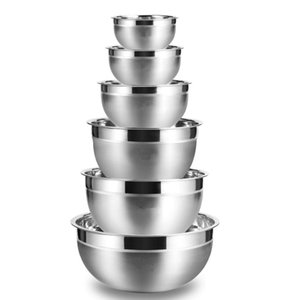 LMETJMA Stainless Steel Mixing Bowls (Set of 6) Non Slip Nesting Whisking Bowls Set Mixing Bowls For Salad Cooking Baking KC0257 C1005