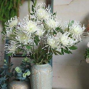 3Heads / şube Leucospermum Yapay Çiçekler Plastik Sahte Kasımpatı İçin Düğün Ev Dekorasyon