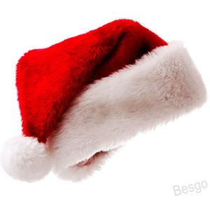 Plush Christmas Hat Soft Red Santa Claus Hat Christmas Cap Thicken Party Cosplay Hats Xmas Cap Christmas Decoration Gift Winter BH4206 WXM