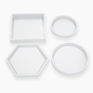 Moldes de silicona del molde de fundición Crystal Clear epoxi Resina de silicona líquida moldea DIY Tiesto té Base DHD2473 Coaster