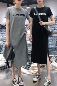 Oneimirry Summer Letter London Solid Simple Women Dress Loose Short Sleeve Mid-length Casual Bottoming Dresses Woman 2020