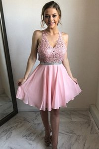 Fashion Lace Tops Prom Dress Halter Neck A-line Party Dresses Homecoming Dresses Short Prom Party Gowns