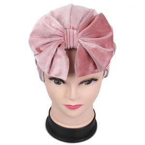 Foxmother 2020 New Allasquable Winter Black Pink Bow Velvet Velvet Cappelli Turbante Chemo Caps Muslim Women1