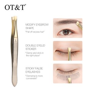 OT&T Bevel Hirakuchi Eyebrow Tweezer Hair Beauty Slanted Puller Stainless Steel Eye Brow Clips Hair Removal Makeup Tool 0295