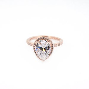 2020 Free shipping 18K Rose gold Tear drop CZ Diamond RING for Pandora 925 Silver Wedding Rings Set Engagement Jewelry for Women
