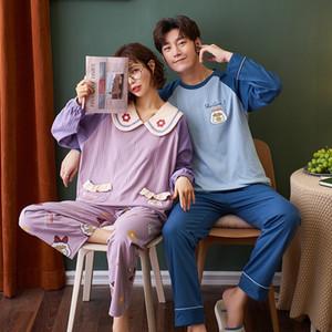 Nightwa хлопковая пара пижама набор свежий стиль с длинным рукавом новая новая осенняя домашняя одежда для любовника Pijamas Mujer Comfort Comfort 201027
