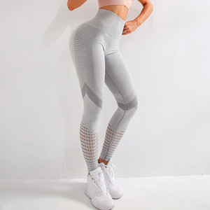 High Waist Fashion Women Yoga Pants Seamless Leggings Push Up Hips Hollow Out Fitness Gym Running Pant Woman Workout Trousers