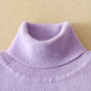 Кашемировые свитера Женские трикотажные свитера осень / зима высокой шеи свитер тепло Женские пуловеры High-образным вырезом Большой размер 201023