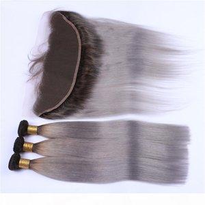 Sombre enracinée # 1b gris ombre 13x4 dentelle frontale CLSOURE avec 3 offres d'emballage ombre hétérofilde gris gris malaisien tisse avec fragile complets
