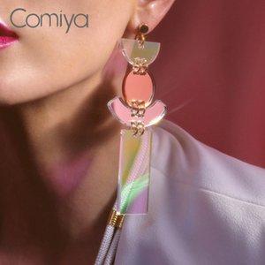 Brands Drop Earrings Brincos geometric Fashion big Women Accessories Acrylic shine Punk Fashion mirror Ornament Long Pendants