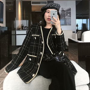 Luck A Fashion Women Fragrance Long Sleeve Wool Coat Lady Vintage Cardigan Black Woolen Jacket Female Tweed Coats 201013