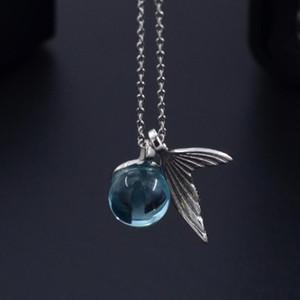 Sirène mousse Collier coréenne chaud de vente en argent plaqué chaîne femmes Clavicule exquis Tout match Blue Crystal Fish Pendentif Queue