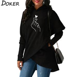 Women Hoodies Sweatshirts 2020 Casual Tops Love Hand Print Long Sleeve Pullover Hoodie Female Plus Size Warm Hooded Sweatshirt