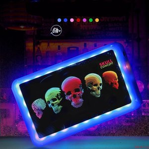 Rolling Tray Glow Cigarette Tray 800mah LED Light Glowtray Plastic ABS Tobacco Smoking Rechargeable Trays Storage Plate DHL