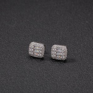 Simple square Mens Hip Hop Stud Earring CZ Zircon Ice Out Bling Gold Silver Color Copper Earrings for Men Hiphop Rapper Jewelry