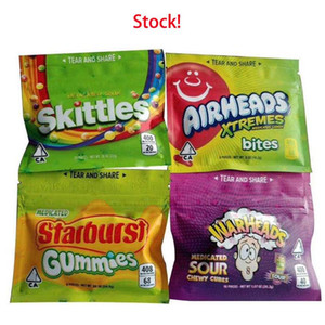 Empty Skittles Starburst WARHEADS AIRHEADS Xtremes Empty Bag 400MG 408MG Smell Proof Packaging Zipper Package Edibles bag gummies DHL Free
