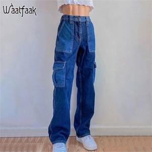 WAATFAAK Straigh Bacak Mavi Y2K Kot Patchwork Denim Yüksek Bel Bayanlar Kargo Pantolon Kadın Uzun Baggy Kot Bayan 90 S Vintage 201223